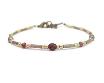 Garnet Bracelet, Pearl Bracelet, Petite Modern Friendship Bracelet, Friendship Bracelet, January Birthstone, June Birthstone
