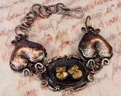 I LAUGHED I CRIED - OOAK One Of A Kind Comedy & Tragedy Copper Bracelet With Vintage Intaglio Glass Cabochon