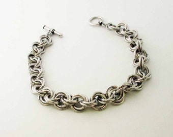 Mobius Flowers Chainmaille Bracelet Handmade