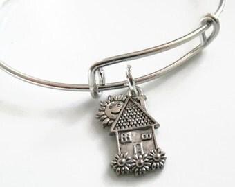 Adjustable Expandable House Charm Bracelet