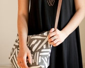 Last Chance-Marks Canvas Crossbody Slate, Geometric, Brush Stroke, Screen Printed Day Bag-Ready to Ship