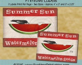 Watermelon Crow Farmhouse Label Printables - Summer Sun Watermelon Seeds - Seed Label - Primitive Rustic Design - Red PDF and/or JPG File