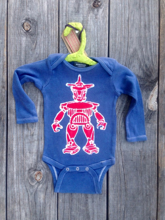 Robot space organic cotton bio long sleeved one piece baby boy's clothing Eco friendly 3 to 24 months