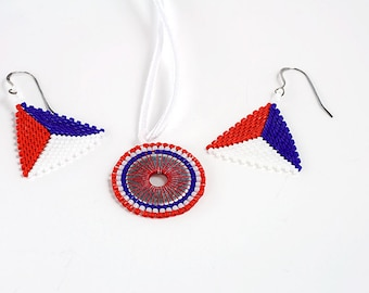 Earrings and Necklace Set // Red, White, and Blue // Jewelry // Beaded