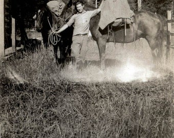 vintage photo Cowboy 1920s Oregon Young Handsome Man Tatem in the Mountains w Horses Gear