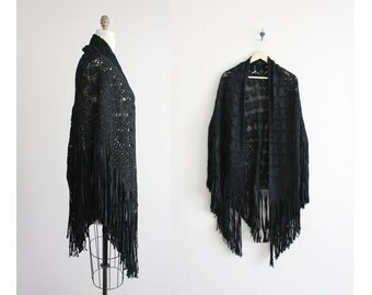1920s shawl / silk ribboned shawl / black silk shawl