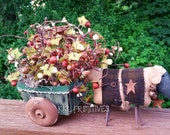 Primitive Style Sheep Pulling Cart Filled With Large Pipberry Bushes