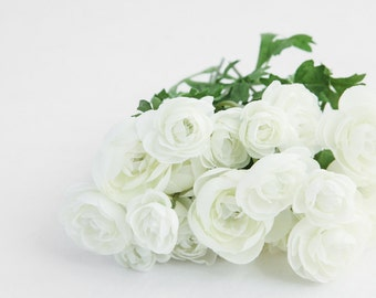 20 Mini Ranunculus in White - silk flowers, artificial flowers, millinery, flower, flower crowns - ITEM 0453