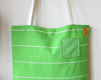 ON SALE Down The Road Apple Green and White Stripe Tote Bag with small pocket on the front.