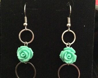 Mint rose and silver hoop earrings