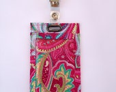 Multicolored Pink Paisley Vertical Badge Holder