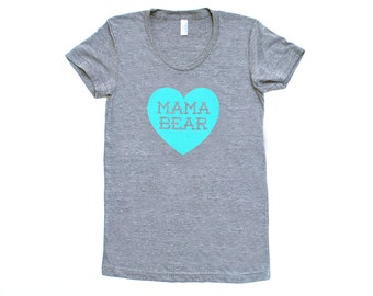 Mama Bear with Heart TriBlend Heather Grey with Aqua Blue TShirt - Mother's Day, Gift for Mom, Expecting, Baby Shower, Family Photos