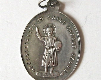 Antique Thin Sterling Silver Small St Infant Jesus  French 1900 Religious Medal Charm Pendant