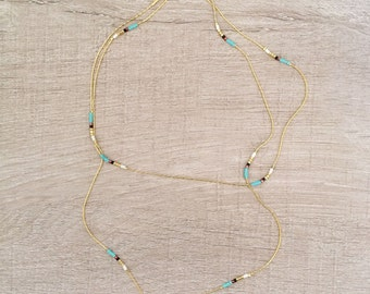 Extra Thin Long Bead & Chain Necklace // Minimalist Layering Boho Necklace // Simple Elegant Bohemian Jewelry // CO130-TQ