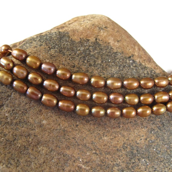 Bronze Freshwater Pearls, Golden Brown Lustrous Rice Pearls, 7mm x 5mm, 15.5 Inch Strand, 60+ Natural Pearl Beads, Jewelry Supplies (P-R1)