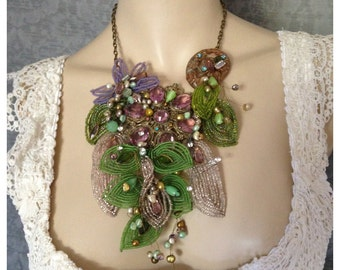 Statement Collage Necklace of Vintage French Beaded Flowers, Vintage Jewelry and Freshwater Pearls. Deco Brooches