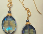 Fresh water pearls, glass beads and 24k gold vermeil Bali beaded pierced earrings