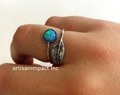 Nature ring, leaf ring, silver ring, stone ring, blue opal ring, twig ring, adjustable ring, twig ring, boho - Gone with the wind R2062-1