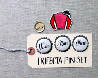 Win Place Show, The Trifecta Horse Racing Pin Set, Hand - Lettered Pinback Buttons, Horse Themed Party Favors, Calligraphy Pin Badges