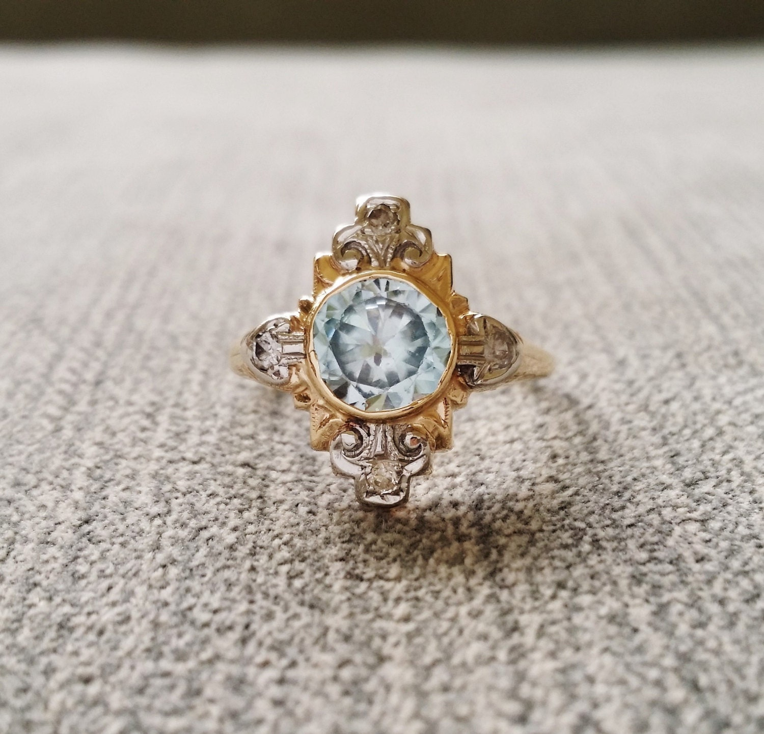 antique aquamarine engagement ring two toned bezel low
