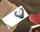 0361 NEW! JLMould Deer Antlers hand drawn  Custom Return Address Stamp Wood Stamp Wedding Save The Date Gift Rubber Stamp Bridal Shower Gift