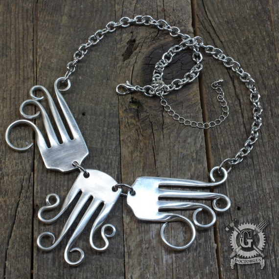 The Flying Squid ---- Steampunk Necklace Handmade From Antique Sterling Silver Plated Forks ---- A Doctor Gus Recycled Creation