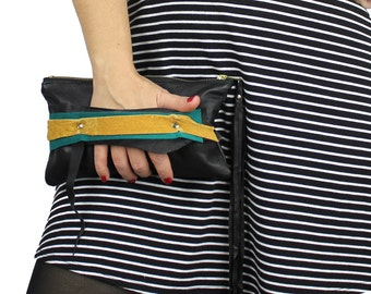 Black Teal & Mustard Jackie Wrist Clutch with Fringe Zipper Pull - sustainable design