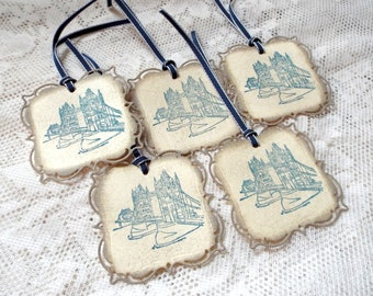 London Tower Bridge Tags, Vintage style tags, Set of 5, Blue Beige Tan Taupe, hand stamped Party Favor Tags, Gift tags, English British UK