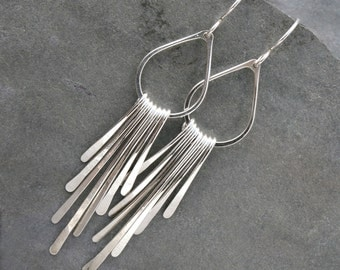 Fringe Sterling Silver Earrings Dangle Handmade Jewelry Teardrop Earring Asymetrical Hammered Falling Rain