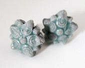 Flower Studs - Post Earrings - Porcelain Earrings - Blue Gray