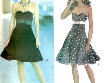 Strapless cocktail dress 90s vintage sewing pattern Butterick 5790 Rimini Bust 34 to 38 UNCUT