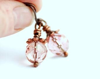 Rose Pink Earrings, Romantic Earrings, Beach Wedding, Pastel Earrings, Dangle Earrings, Vintage Inspired Earrings - Wild Rose