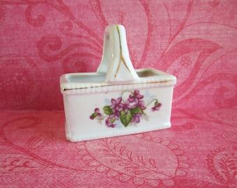SALE Little Vintage Ceramic Basket With Violets