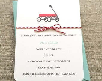 Wagon Baby Shower Invitation Boy