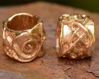 Artisan Curly Vine Spiral Gold Bronze Slider Bead