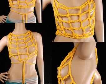 Sunshine Yellow Net Top, Boho Layer fishnet top, crochet Summer halter top, Multi wear wrap top, Festival Fashion. hipster cover up