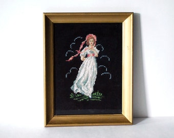 Vintage Needlepoint Picture, Pinkie Wall Hanging, Fiber Art Portrait, Retro Kitsch Decor, Gold Frame Picture, Black Handmade Crafts
