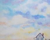 Sundown - Original Naive Acrylic Landscape Painting on 15 x 11 Canvas
