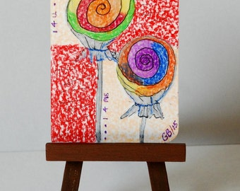 "ACEO "" One For You, One For Me "" Original on Heavy Art Paper"
