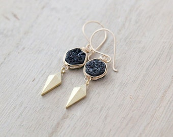 Arrowhead Druzy Drop Earrings, Black Hexagon Quartz  & Triangle Charm Earrings, Bezel Wrapped Geometric Fashion - Stiletto