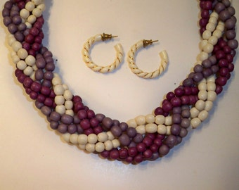 Purple Choker Necklace Vintage Purple & White Braided Bead Strands with White Hoop Earrings