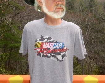 vintage t-shirt NASCAR racing auto checkered flag rainbow gray tee Large 90s