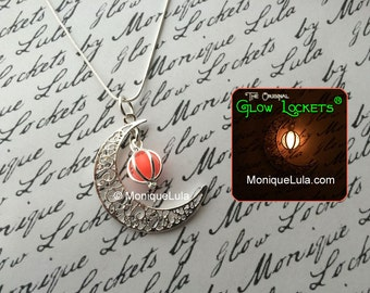 Pink Crescent Moon Glowing Orb Necklace with Free UV Light Charger