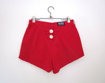 Vintage 80s 90s Rough Rider High Waisted Cherry Red Cut Off Shorts
