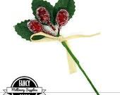 1 - Berry Pick - Dark Red - Artifical Berries  - Fake Berries - Floral Pick - Flower Pick - Fruit - Millinery - Vintage Look