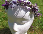 Beltane Midsummer vine circlet - Purple Silk Flower Blossoms