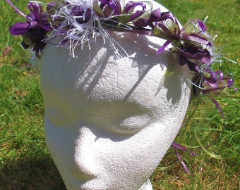 Beltane Midsummer vine circlet - Purple Silk Flower Blossoms