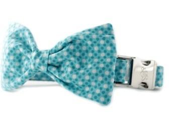 Teal Bow Tie Dog Collar - Teal Tiny Dot Bow Tie Dog Collar - Ocean Tiny Dot Dog Collar - teal bowtie dog collar - blue bow tie dog collar