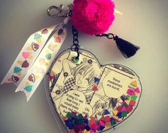 Manga Heart Confetti PVC Necklace or Bagcharm