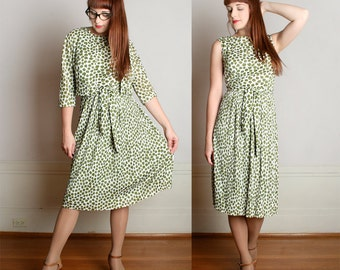 Vintage 1960s Dress & Blouse Set - Jerry Gilden Olive Green Leaf Print Two Piece - Medium